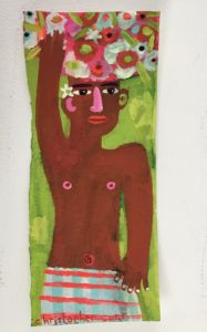 Man with a Flower Basket in Keralal. Gouache on paper, 31 x 13 cm
